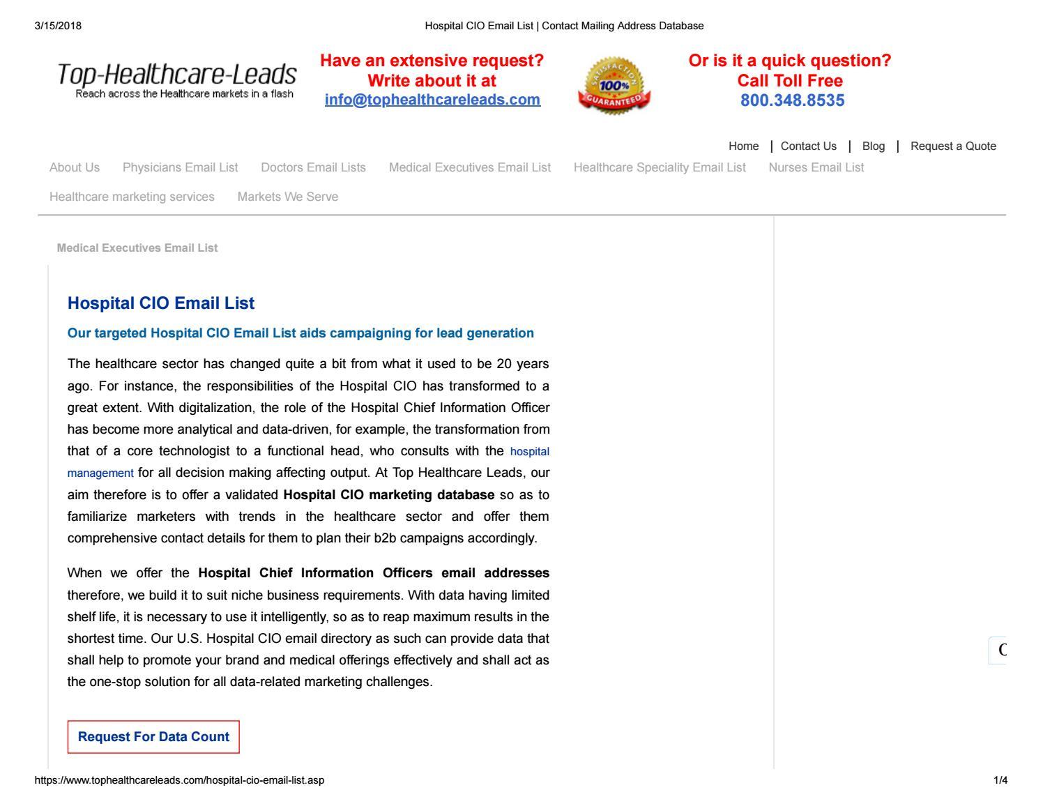 Hospital CIO Directory - Top Healthcare Leads by