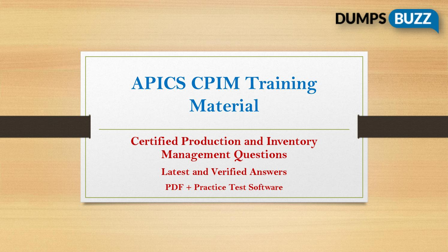 Apics Cpim Practice Test Sample Questions For Quick Success By