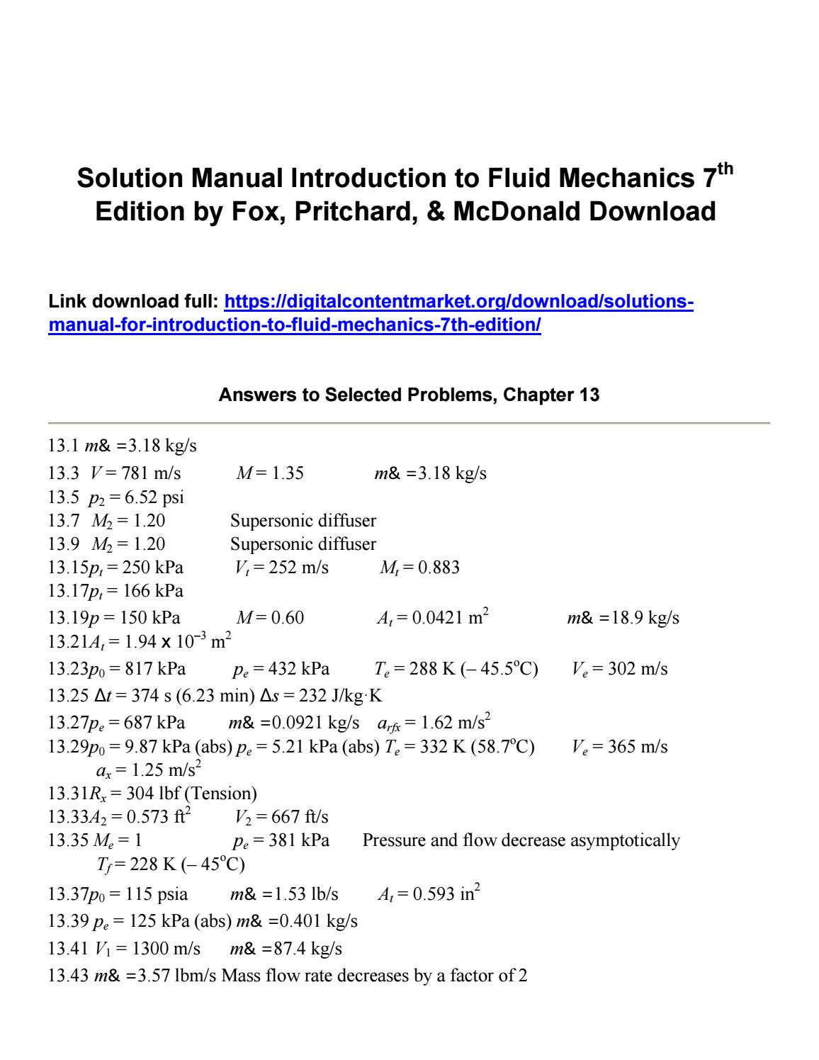 Solution manual introduction to fluid mechanics 7th edition by fox  pritchard mcdonald download by billtrump345 - issuu