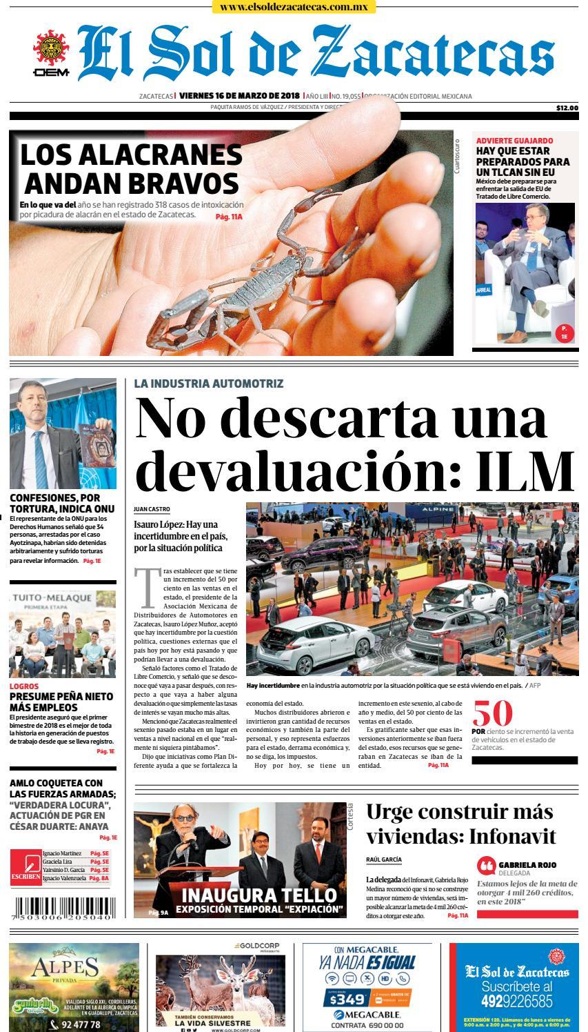 El Sol de Zacatecas 16 de marzo 2018 by El Sol de Zacatecas - issuu