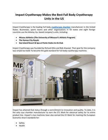 Impact Cryotherapy Makes the Best Full Body Cryotherapy