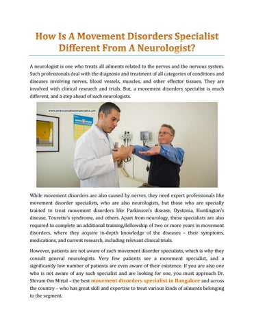 How Is A Movement Disorders Specialist Different From A