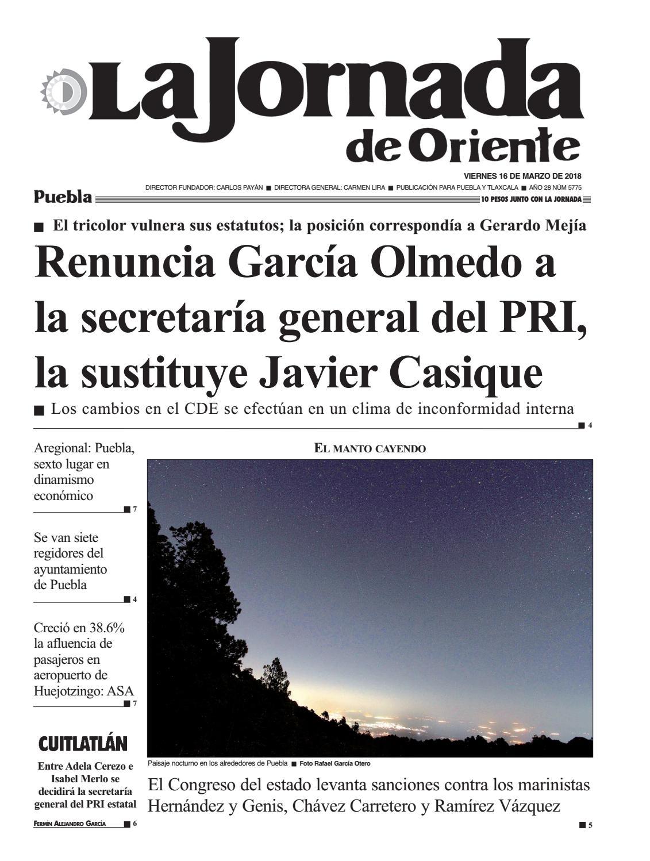 5775 La Jornada De Oriente Puebla 16 03 18 By La Jornada