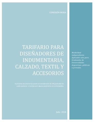 5e1e2544 Tarifario para diseñadores de indumentaria calzado accesorios textil ...