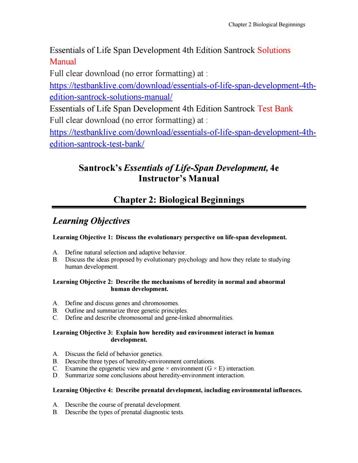 Essentials of life span development 4th edition santrock solutions manual  by bill565 - issuu
