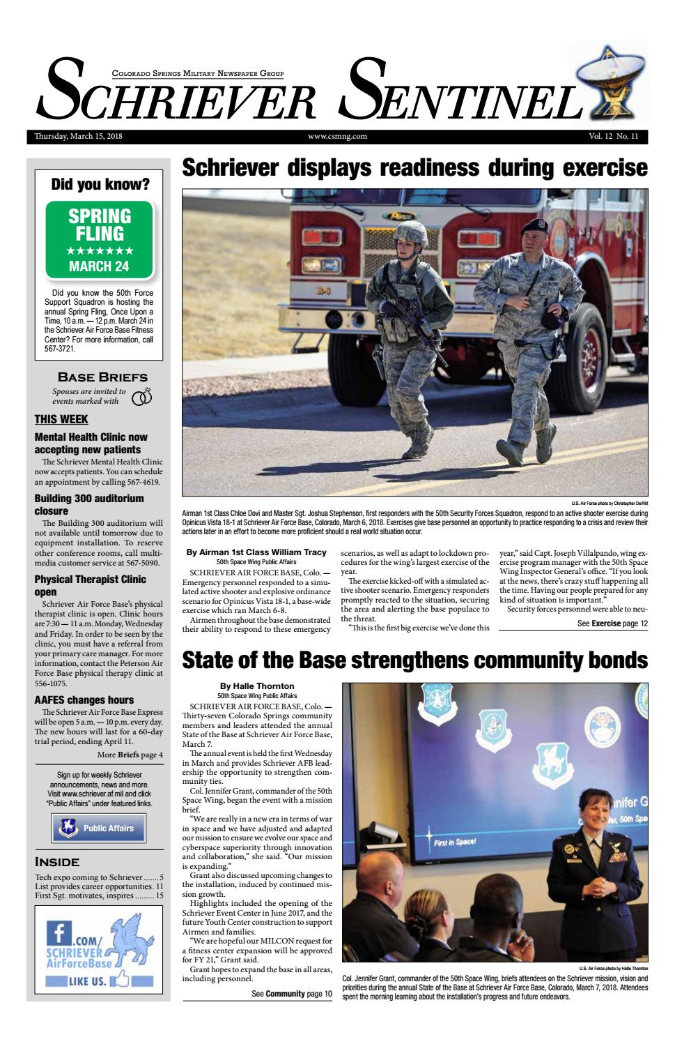 Schriever Sentinel March 15 2018 By Colorado Springs Military