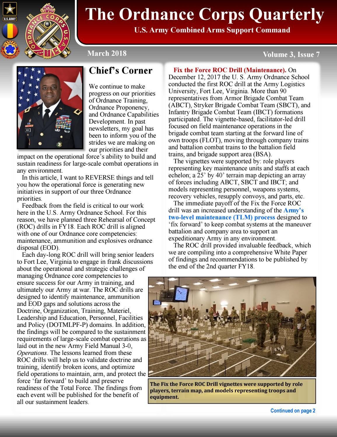 Ordnance Quarterly Newsletter (MAR 2018) by US Army Ordnance