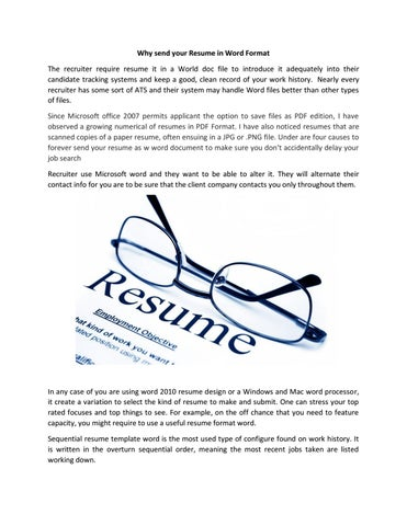 Why Send Your Resume In Word Format By Skymountjobs
