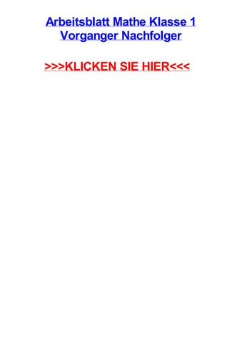 Arbeitsblatt mathe klasse 1 vorganger nachfolger by jodivfqk - issuu
