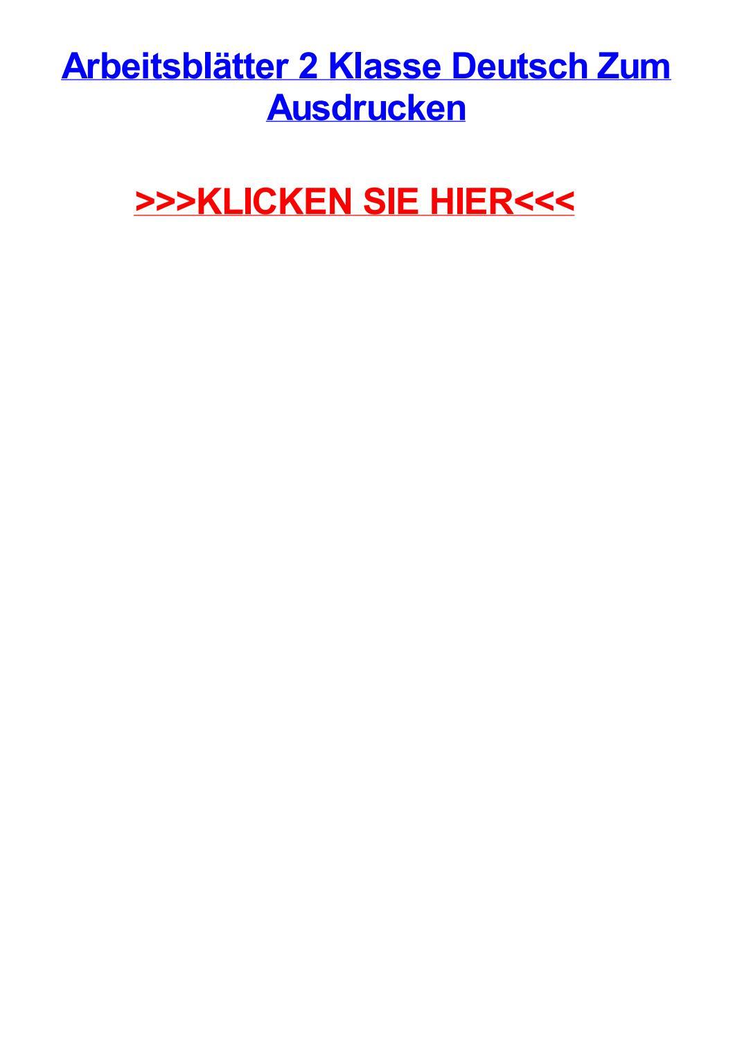 Arbeitsbltter 2 Klasse Deutsch Zum Ausdrucken By