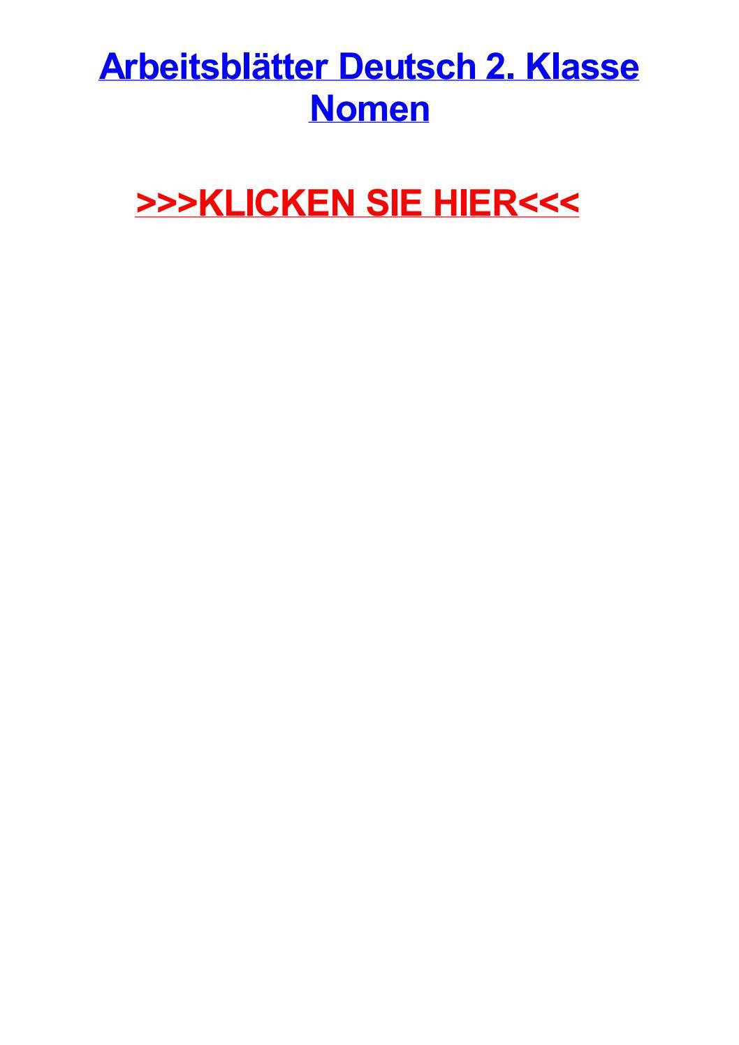 Arbeitsbltter deutsch 2 klasse nomen by daniellepznf - issuu