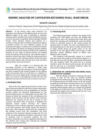 IRJET-Seismic analysis of cantilever retaining wall- base shear by