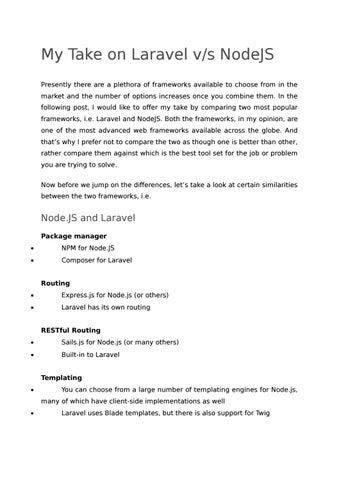 Which Framework is best Laravel or NodejS by seo wamasoftware - issuu