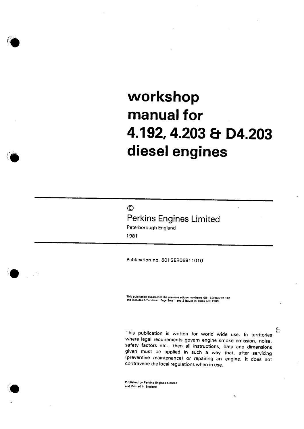 Perkins 4 192 diesel engine service repair manual by 163294