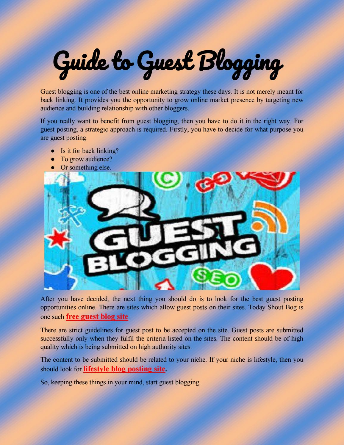 Guide to guest blogging by blog shout - issuu