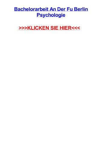 bachelorarbeit an der fu berlin psychologie klicken sie hier - Fu Berlin Bewerbung