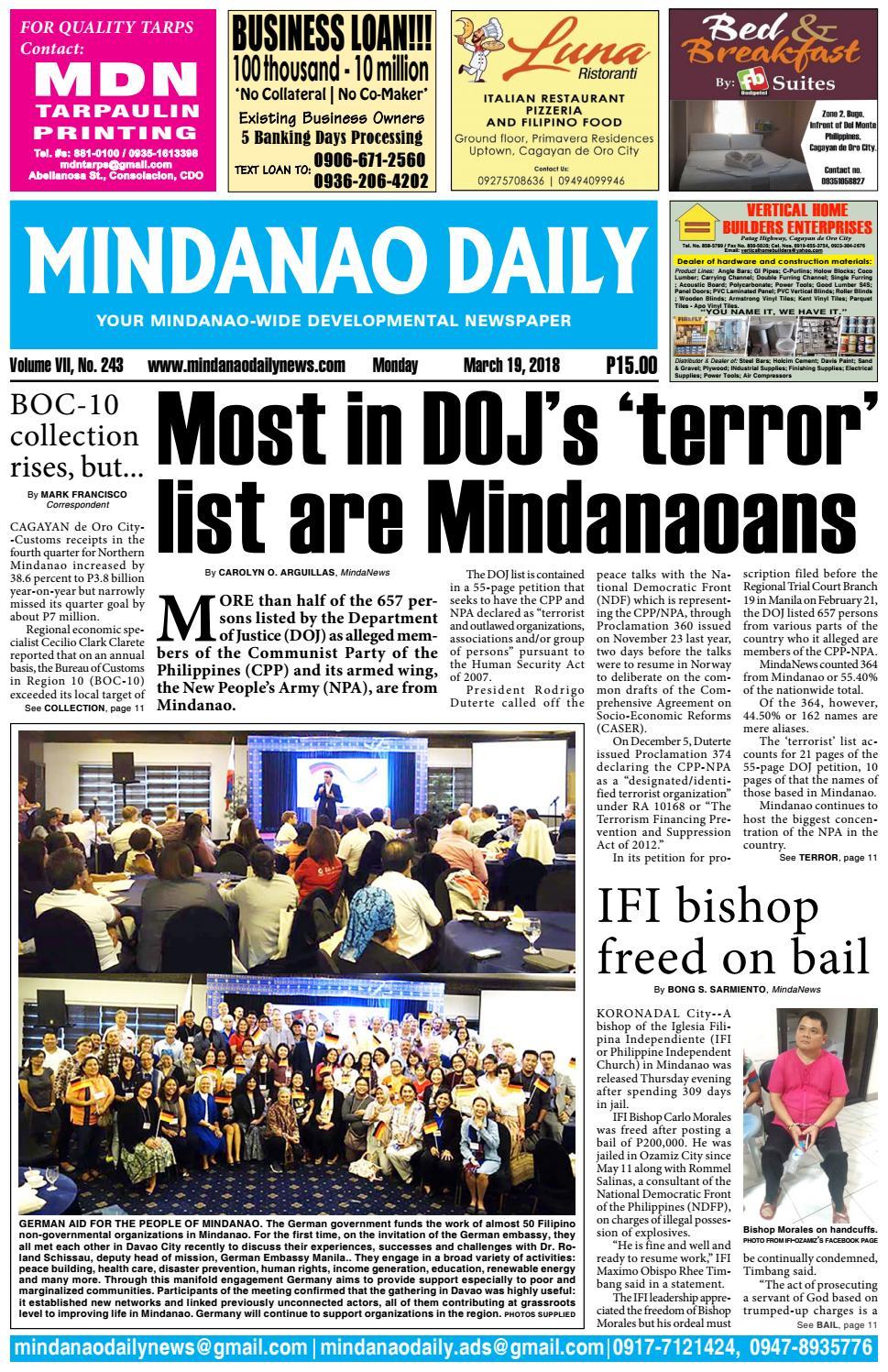 Mindanao Daily March 19 2018 By Mindanao Daily News Issuu