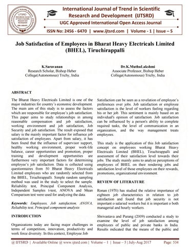 literature review on job satisfaction of employees
