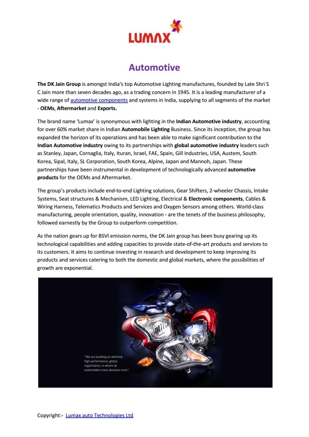 Automotive Component Manufacturers Lumax Autotech By Lumaxautotech Auto Wiring Harness India Issuu