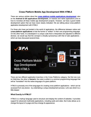 Cross platform mobile app development with html5 mobile app company