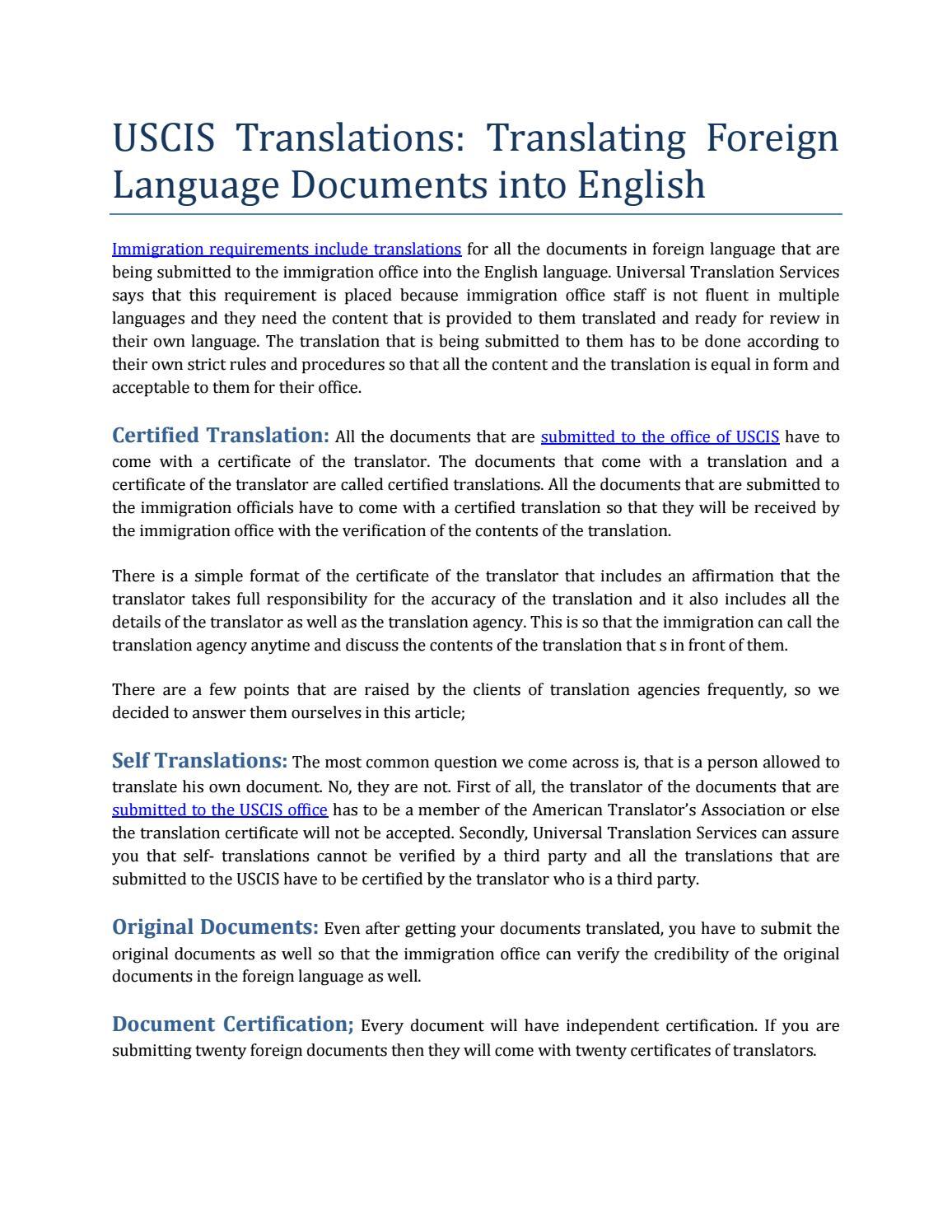 Uscis Translation By Ustranslation Issuu