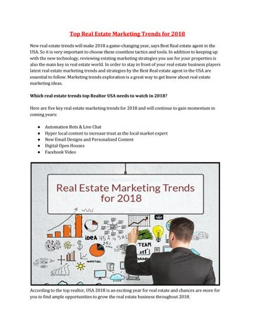 Top real estate marketing trends 2018 by FaxtExpert - issuu