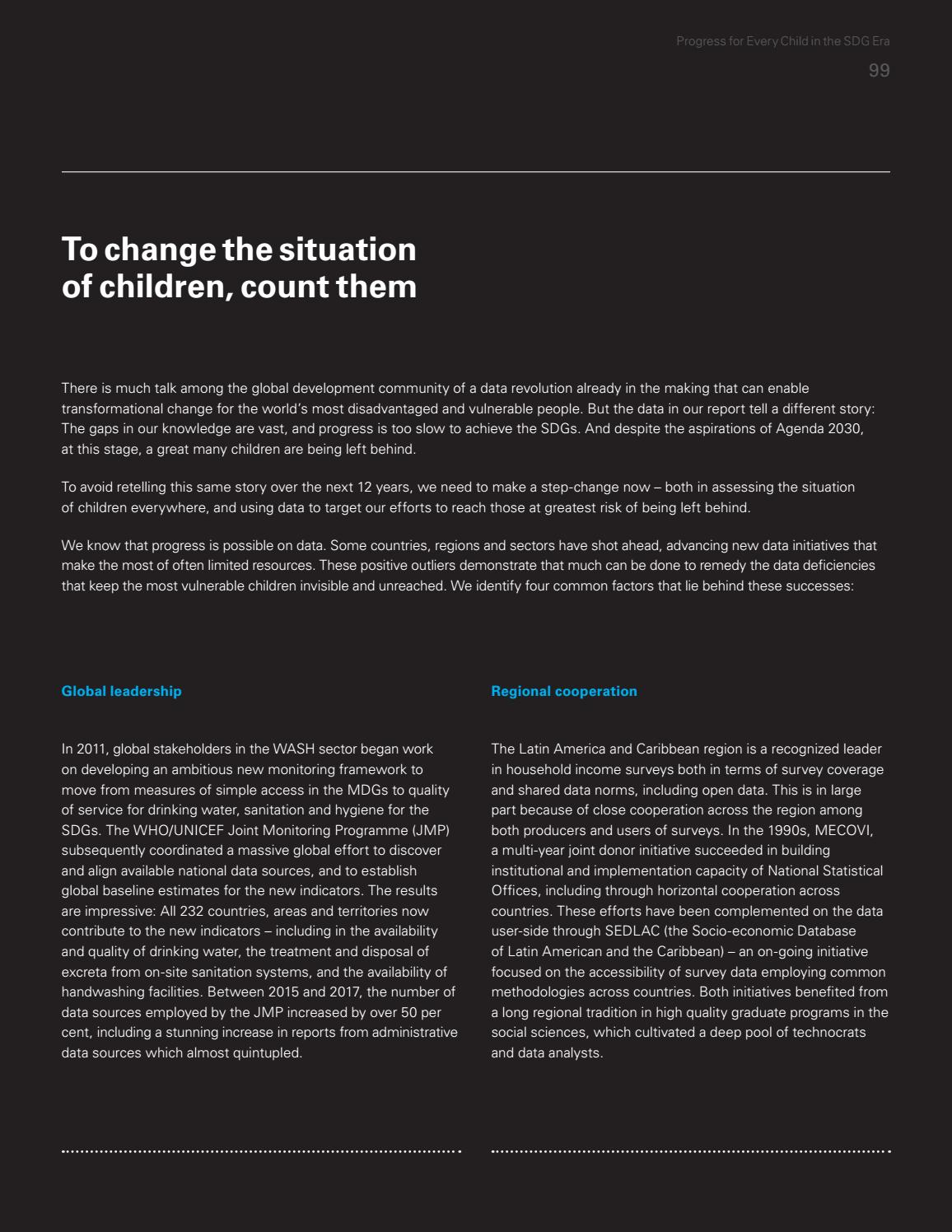 UNICEF Report Progress For Every Child In The SDG Era By USA