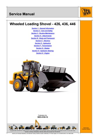 jcb 426 wheeled loader service repair manual sn531001