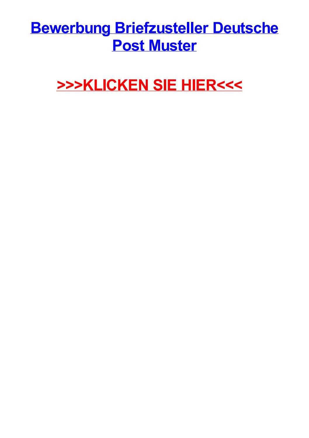 Bewerbung Briefzusteller Deutsche Post Muster By Coolrmdpt Issuu