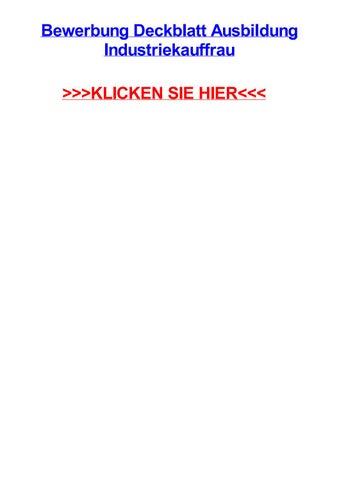 Bewerbung Deckblatt Ausbildung Industriekauffrau By Jillhwpja Issuu