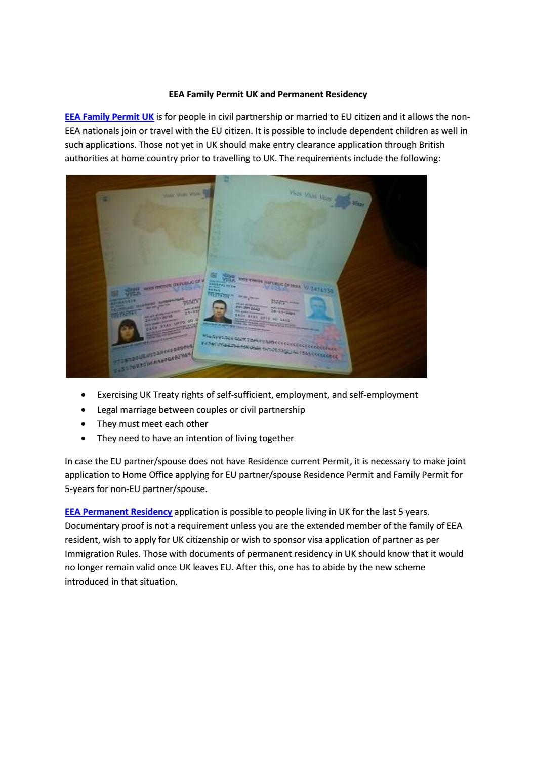 Eea Family Permit Uk And Permanent Residency By Visasimple Issuu