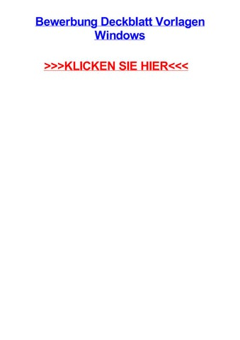 Bewerbung Deckblatt Vorlagen Windows By Andreaynwaj Issuu