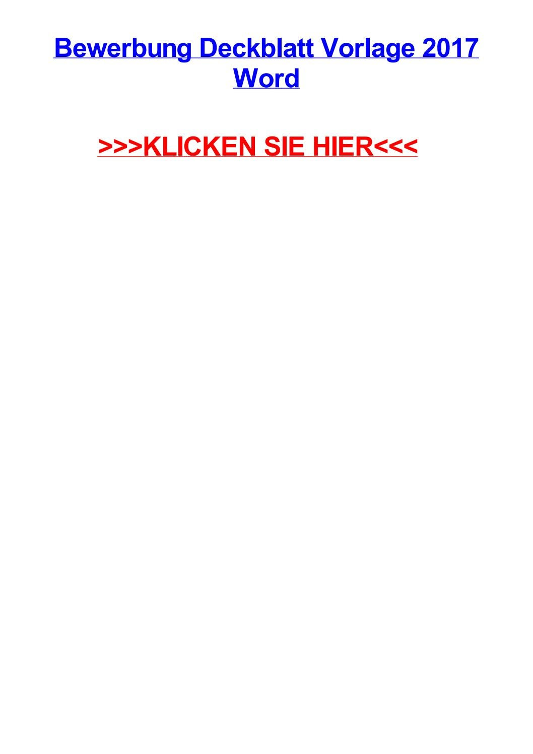 Bewerbung deckblatt vorlage 2017 word by lindsayfamw - issuu