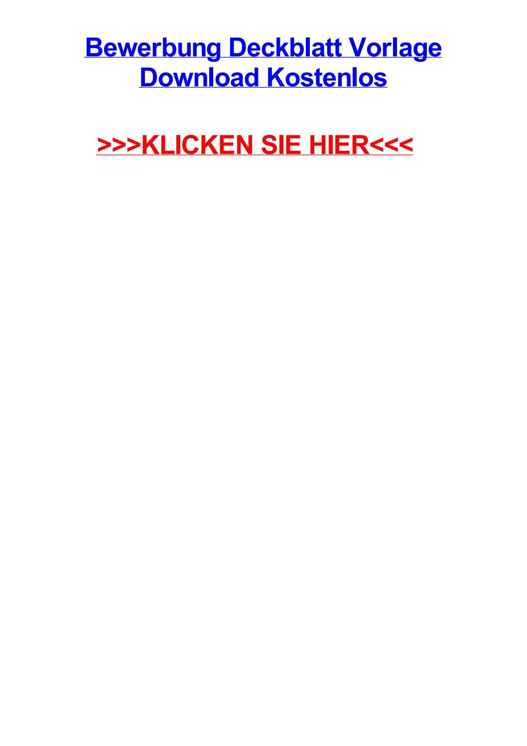 Bewerbung deckblatt vorlage download kostenlos by anthonysaoew - issuu