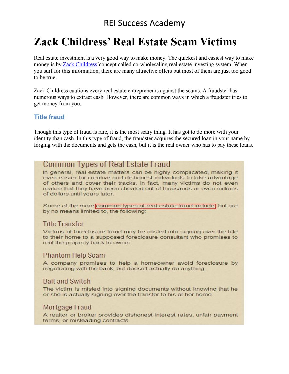 Pleasant Zack Childress Real Estate Scam Victims By Andrew D Issuu Interior Design Ideas Gresisoteloinfo