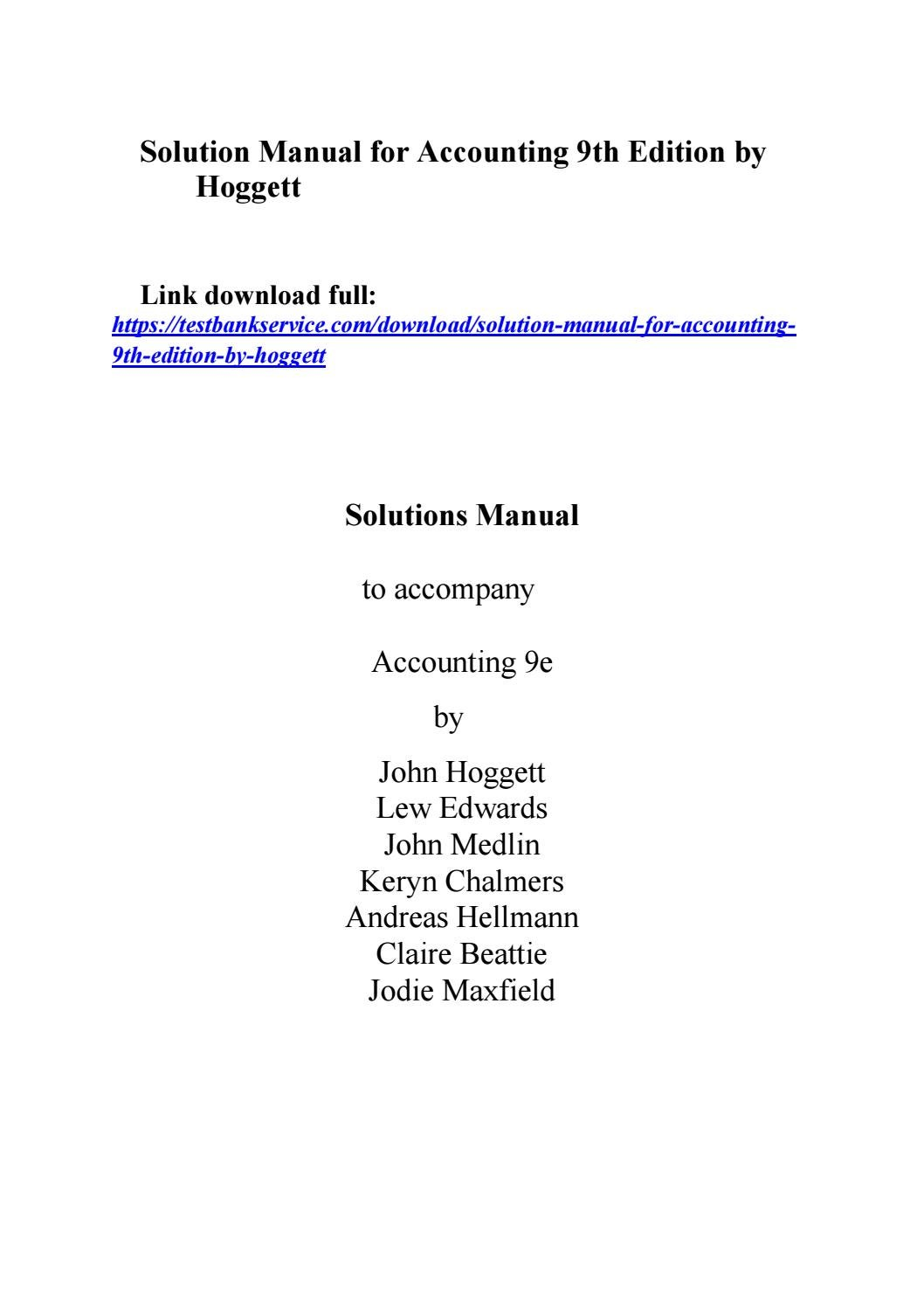 Solution manual for accounting 9th edition by hoggett by finchjem266 - issuu