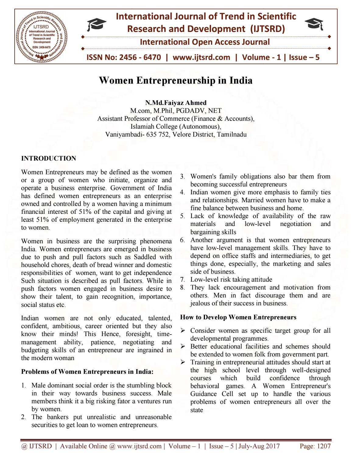 Women Entrepreneurship in India by International Journal of
