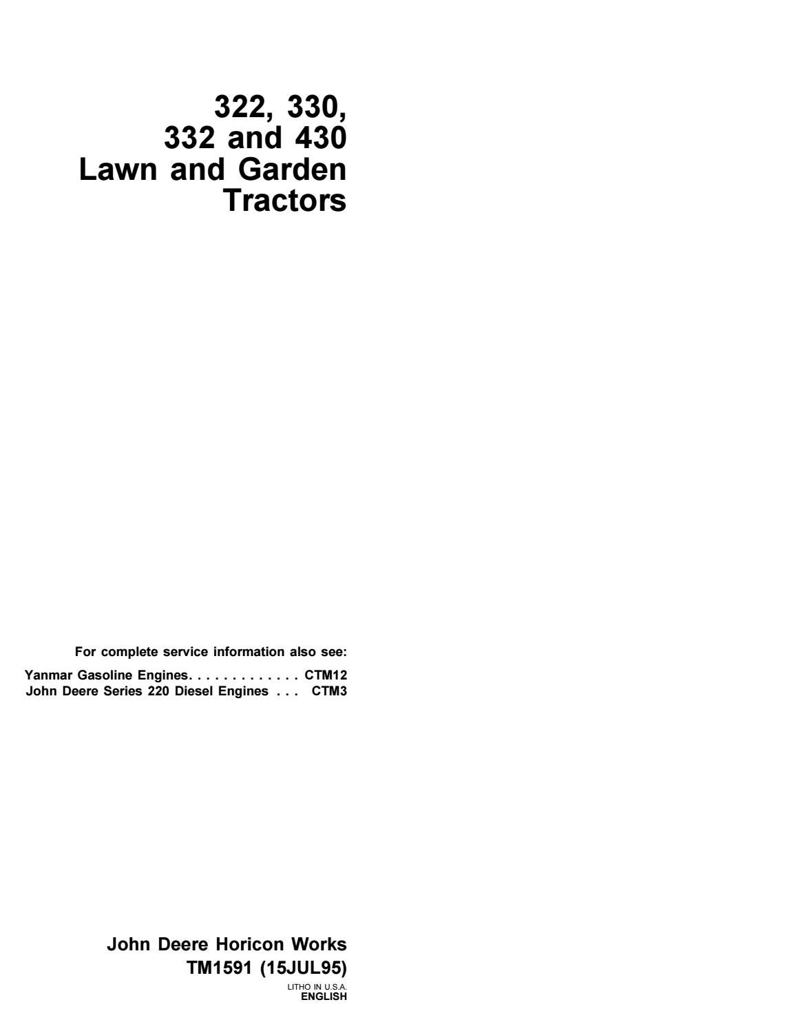 John deere 332 lawn garden tractor service repair manual by