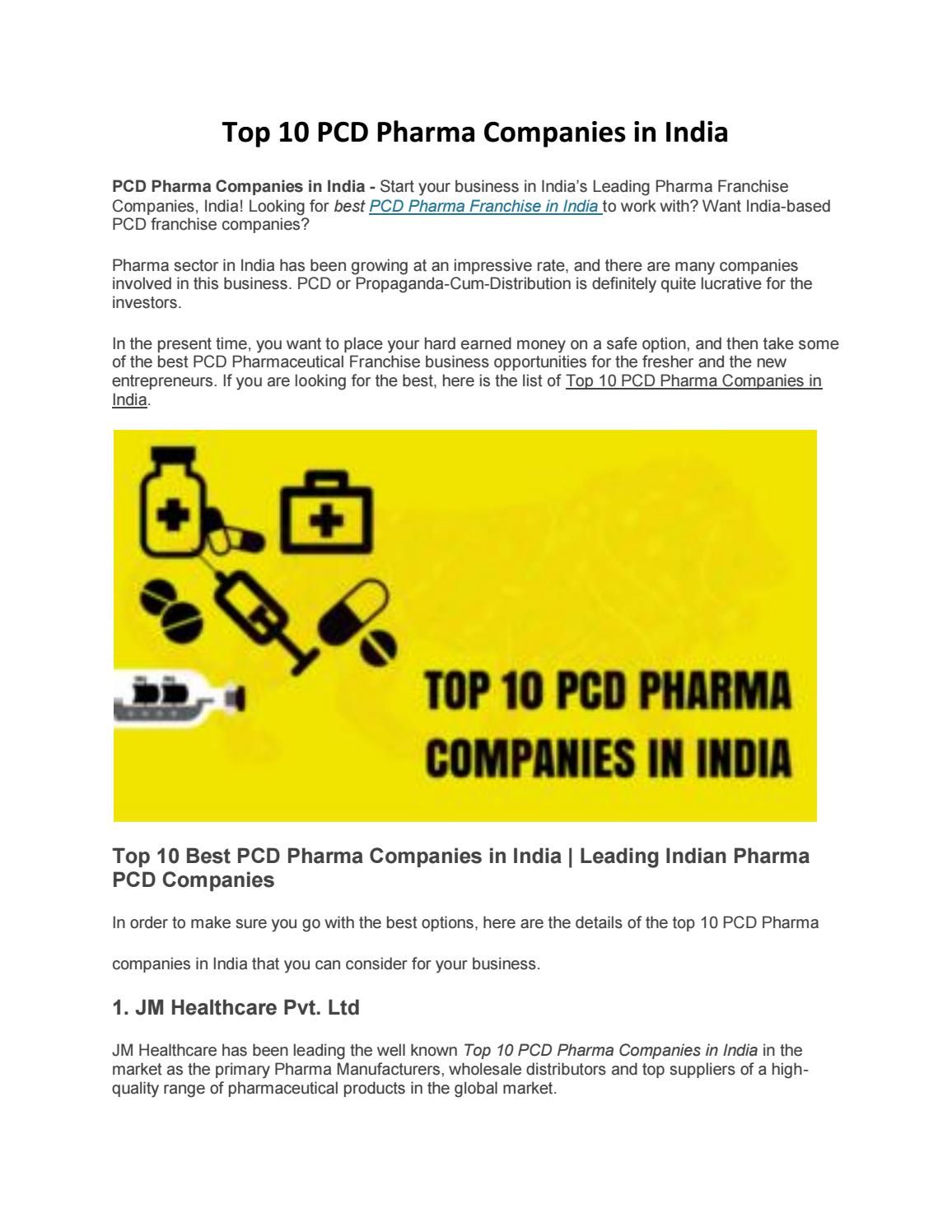 Top 10 PCD Pharma Companies in India by JMHealthcare - issuu