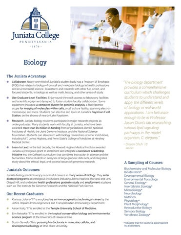Image of document detailing Juniata's biology department