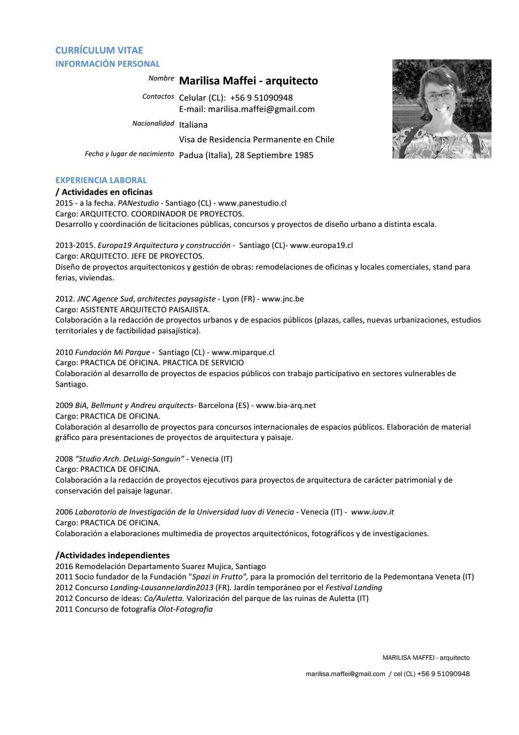 Marilisa Maffei - Arquitecto / CV 2018 by marilisa maffei - issuu