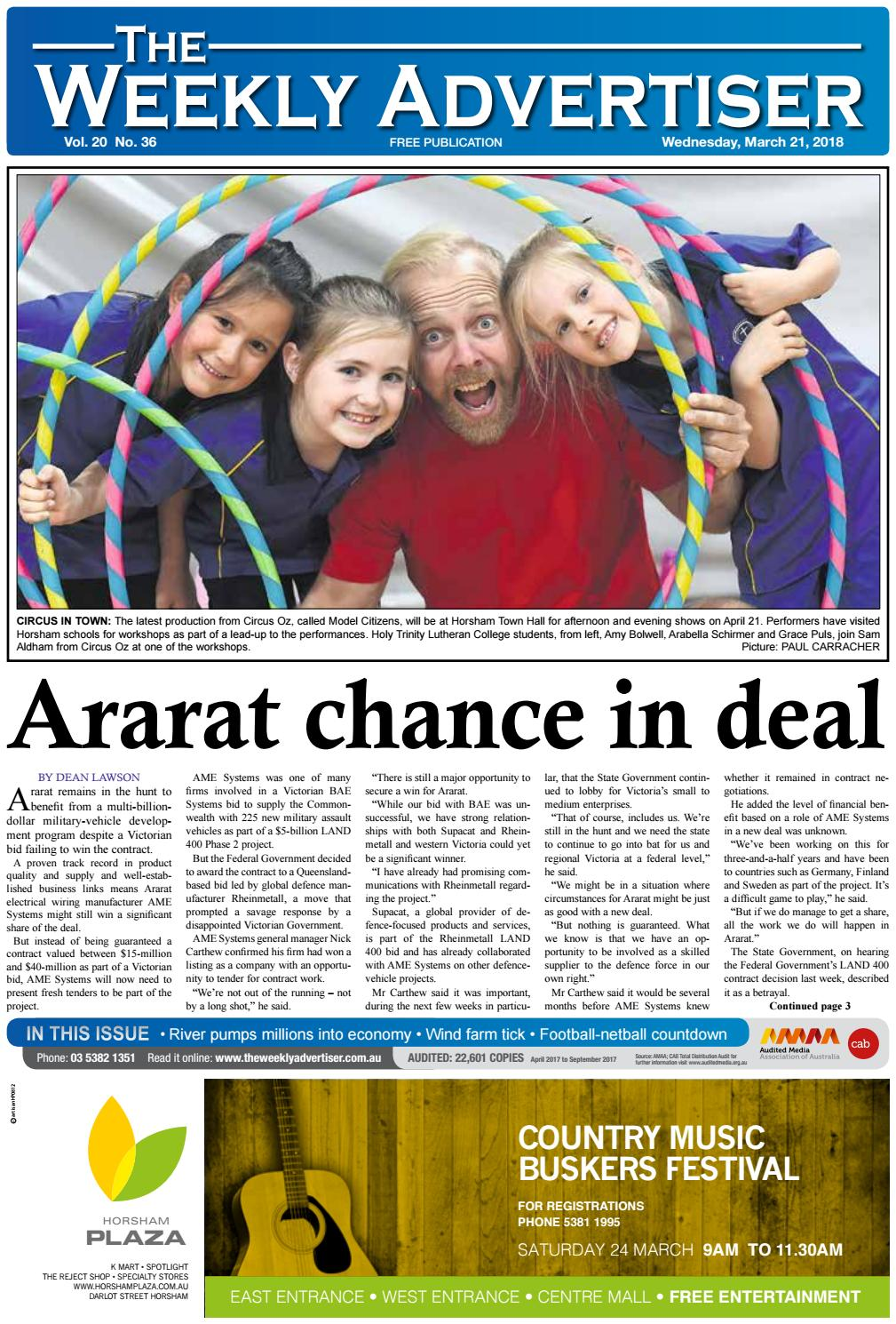 The Weekly Advertiser - Wednesday, March 21, 2018 by The Weekly Advertiser  - issuu