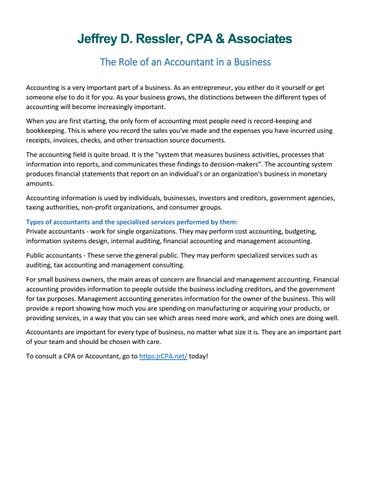 The role of an accountant in a business by jeffresslercpa issuu the role of an accountant in a business accounting is a very important part of a business as an entrepreneur you either do it yourself or get someone else solutioingenieria Gallery