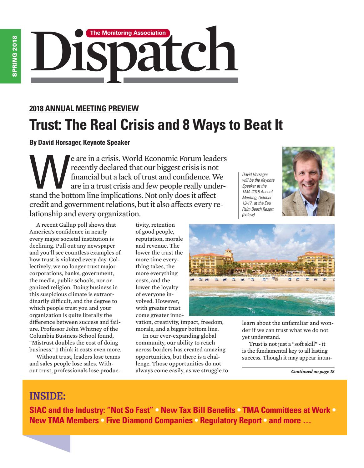 TMA Dispatch Spring 2018 by The Monitoring Association - issuu