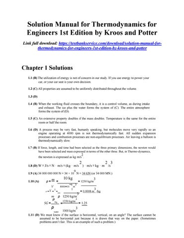 Solution Manual For Thermodynamics For Engineers 1st Edition
