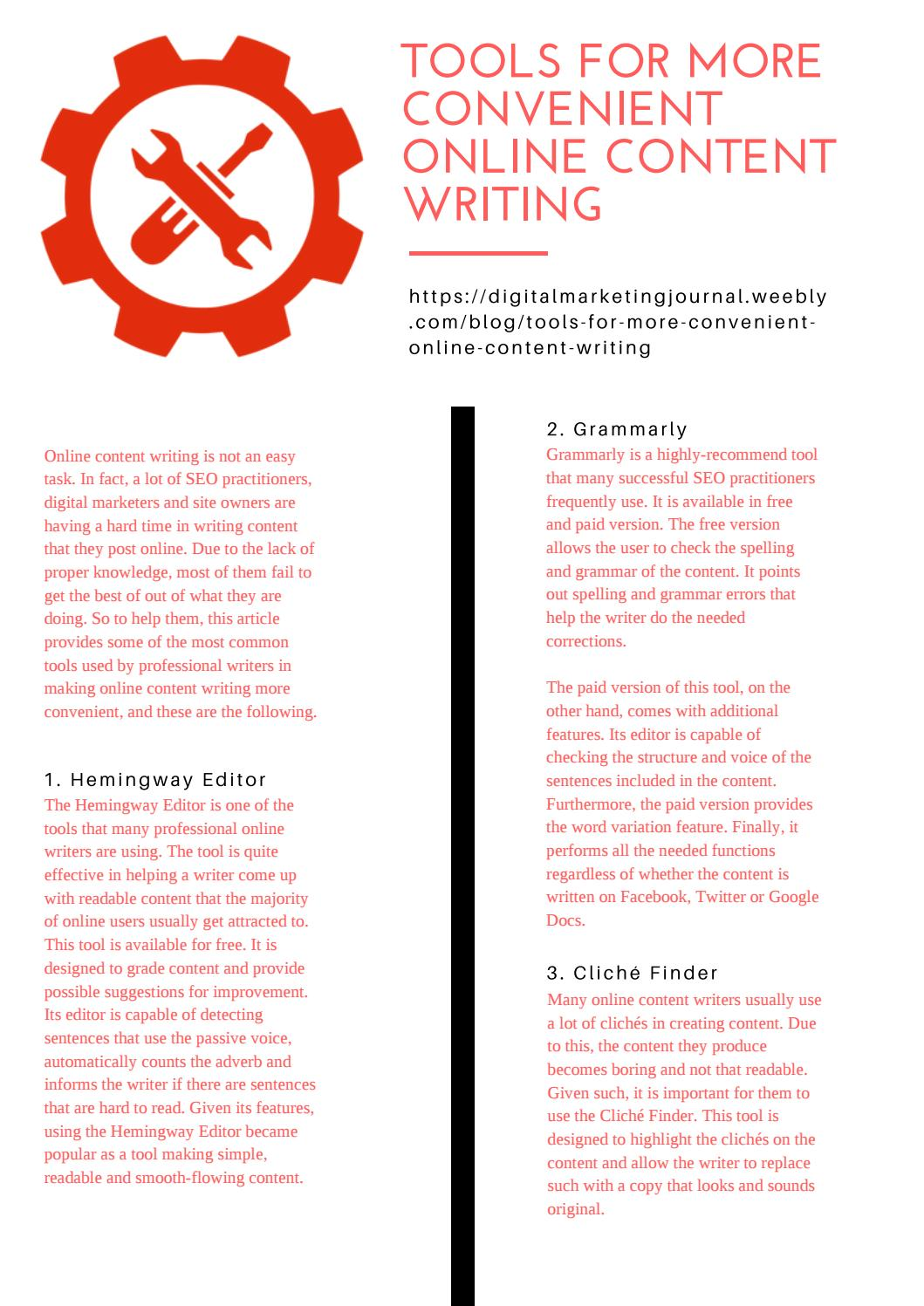 Tools for More Convenient Online Content Writing by amy - issuu