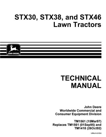 John deere stx38 lawn garden tractor service repair manual by 163294