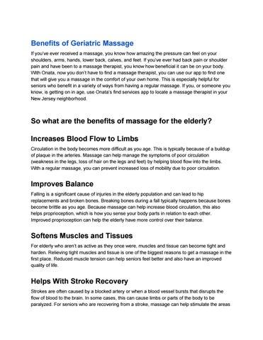 Benefits of geriatric massage by paulcarolz - issuu