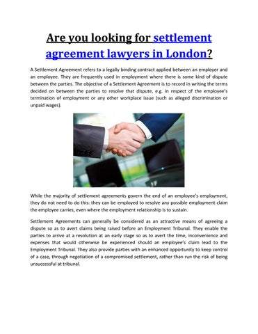 Are You Looking For Settlement Agreement Lawyers In London By Hudson