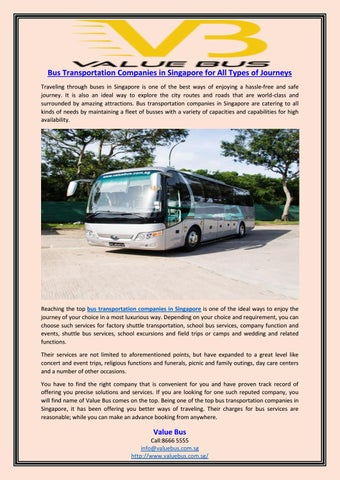 Bus transportation companies in singapore for all types of journeys